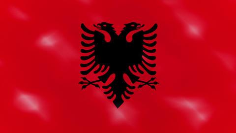 Albanian dense flag fabric wavers, background loop Animation