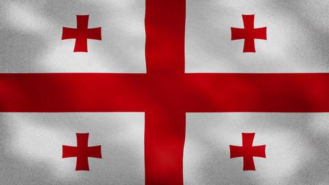 Georgian dense flag fabric wavers, background loop Animation