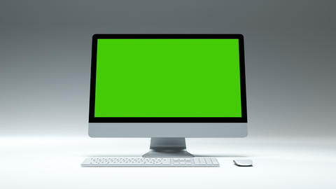Clean Greenscreen Desktop Computer for e business Site or Game App Mockup Studio Live Action