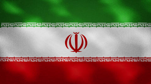 Iran dense flag fabric wavers, background loop Animation