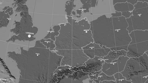 Zoom-in on Germany outlined. Grayscale contrasted Animation