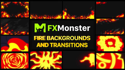 Fire Backgrounds And Transitions Motion Graphics Pack Animation