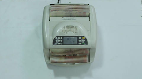 Close Up Of Money Counting Machine Mechanism Calculating Stack Of Indian Money Live Action