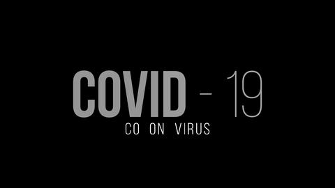 Coronavirus text animation with motion blur effect. Coronavirus text with drak backgound. Covid-19 Live Action