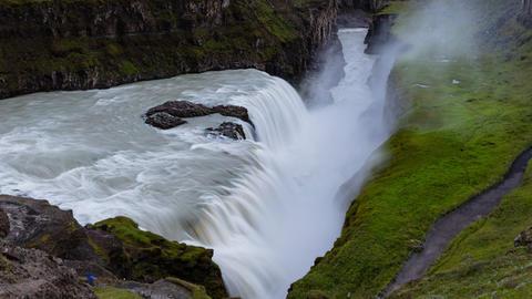 Iceland travel Gullfoss waterfall tourist attraction destination Icelandic Live Action