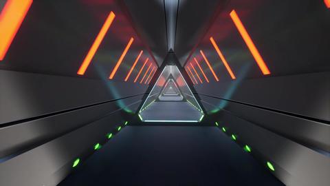 Metal tunnel neon Future tech. 3d minimal motion design Live Action
