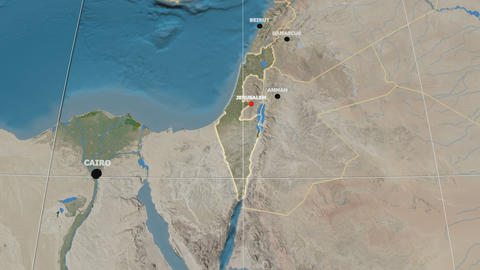 Zoom-in on Israel extruded. Satellite Animation