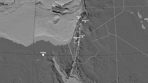Zoom-in on Israel outlined. Grayscale contrasted Animation