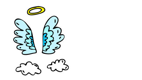 grief greeting card cover design with angel wings and a halo of holiness painted on heaven CG動画