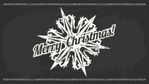 heavy metal style merry christmas greeting card with white medieval snowflake graphic with spikes Animation