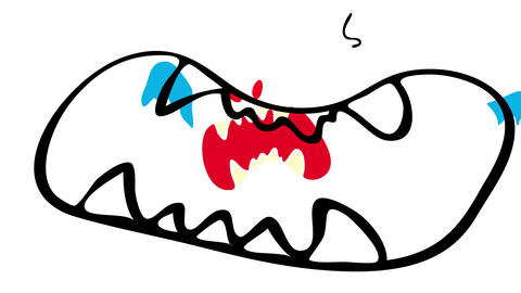 creepy monster with bloodthirsty and pointy fangs with evil looking eyes of red color and big open Videos animados