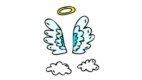 pair of feather wings standing in the place an angel left them with a halo of holiness above and Animation