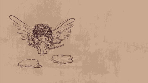 drawing of a female demonic angel with long wings and dress drawn with pen expressing sadness CG動画