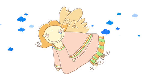 pretty female angel with hippie look flying on heaven with an easy attitude suggesting she is Animation