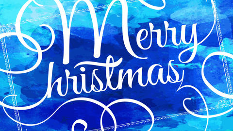 merry christmas greeting card idea with thin white calligraphy creating rounded ornaments over blue Animation
