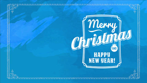 old-fashioned merry christmas and joyful new year reception card covering with vibrant blue scene Animation