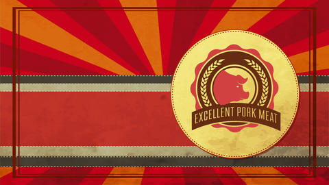 excellent pig meat slogan on butchery shop sign with retro elements and used out reddish stripes Animation