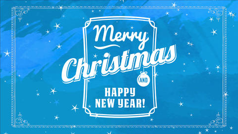 classical merry xmas and joyful new year reception cardboard cover with vibrant blue background and Animation