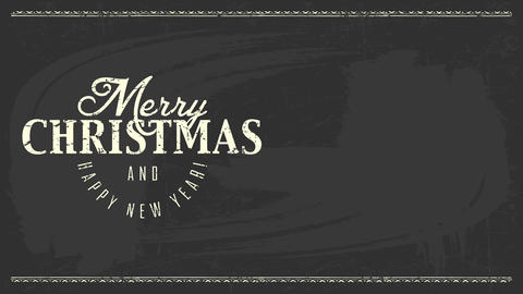simple formal black and white merry xmas new years reception cardboard with chalk writing over black Animation
