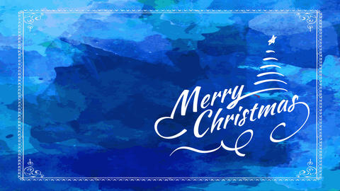 merry xmas reception card with simple design of curly writing with conifer tree with star over blue Animation