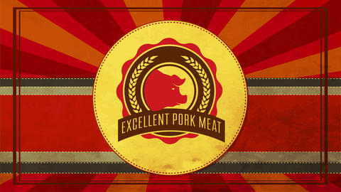 excellent pork meat slogan on butchery shop sign with retro elements and worn out reddish stripes Animation