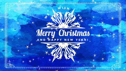grungle blue joyful christmas new period greeting postcard with style fancy crystal halved in Animation