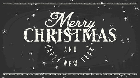 simple fancy black and white merry xmas new years reception postcard with chalk lettering over black Animation