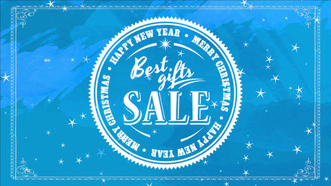 best new years and xmas giving selling with huge round symbol over blue hand multicolor background Animation