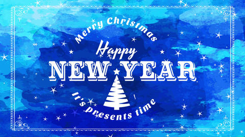 xmas and new years sign for seasonal season transfer with white printing over blue scene Animation
