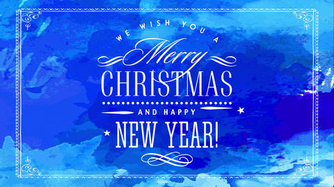 merry christmas and happy new year with elegant delicate white calligraphy over blue hand painted Animation