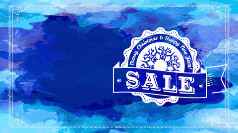 merry xmas sale hand multicolor blue watercolor sign with white fancy badge with rippled boundary Animation