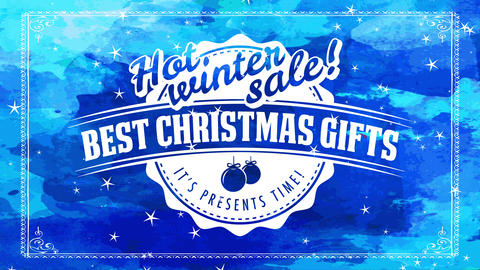 hot seasonal sale advertisement offering excellent christmas gifts with oval emblem with aged offset Animation