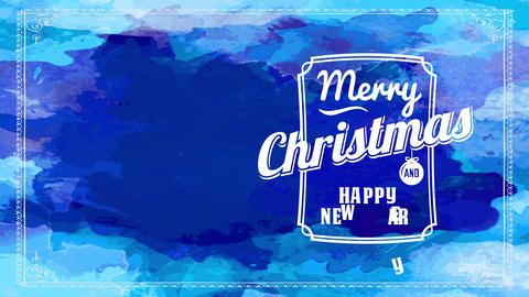 merry christmas and smiling new year blue watercolor cardboard with aged typing interior frame with Animation