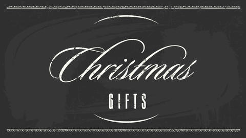 elegant christmas gifts exchange party invitation with delicate white calligraphy in center of black Animation