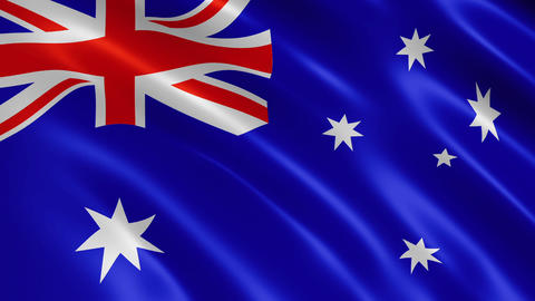 Australian flag waving in the wind CG動画