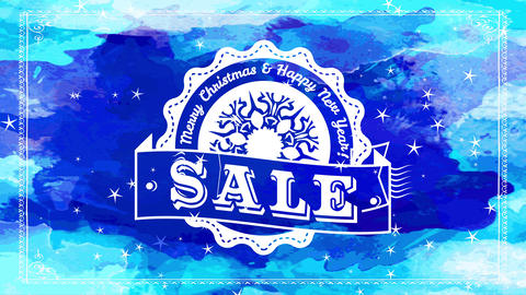 merry xmas transfer fingers multicoloured blue watercolour sign with white fancy emblem with Animation