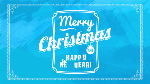 vintage merry christmas and happy new year greeting card cover with vibrant blue background and Animation
