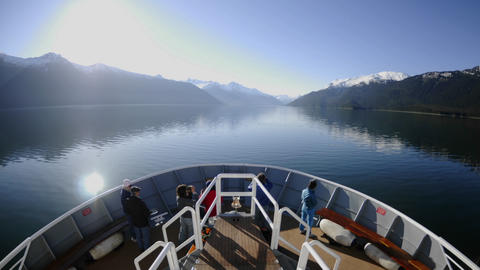 Point of view time lapse of a ship cruising fast up Endicott Arm in Tracy Arm - Fords Terror Wildern Live Action