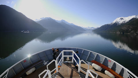 Point of view time lapse of a ship cruising fast up... Stock Video Footage