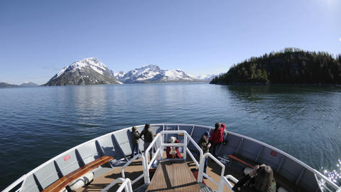 Point of view time lapse of a ship cruising through Glacier Bay National Park in Southeast, Alaska Footage