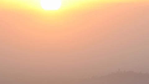Time lapse of sun rising through the haze from Mount... Stock Video Footage