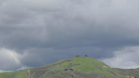 Time Lapse Motion Of A Developing Storm Over Two Trees Above Ventura, California stock footage