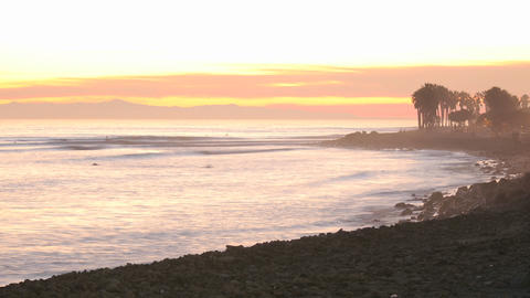 Time lapse of waves, boat and surfers at Ventura Point... Stock Video Footage