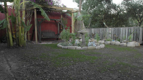 Long term time lapse of a new lawn growing in a backyard setting in Oak View, California Footage