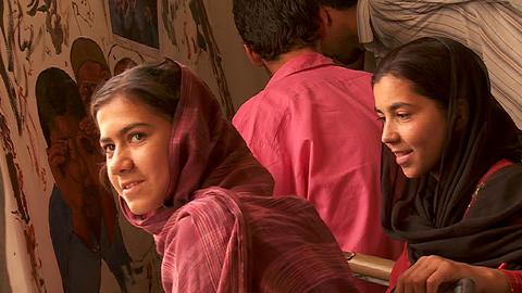 School children attend an art class in Kabul Afghanistan Stock Video Footage