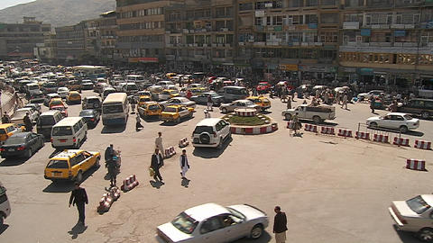 A wide establishing shot of downtown Kabul, Afghanistan... Stock Video Footage