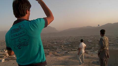 A fierce kite battle on a hill overlooking Kabul,... Stock Video Footage