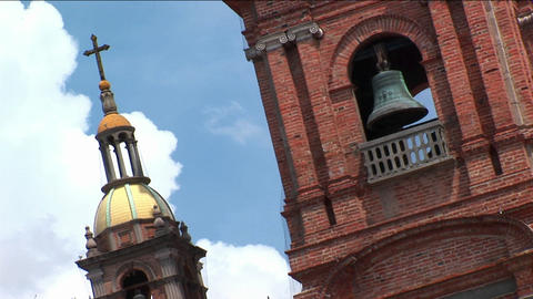 Church bells occupy a tower Stock Video Footage