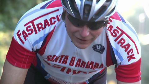 A man rides a bicycle in a race Footage