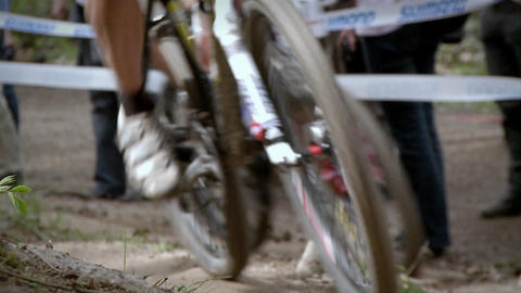 Bicyclists race as a crowd watches Footage